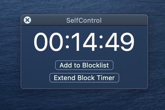 SelfControlの制限残り時間