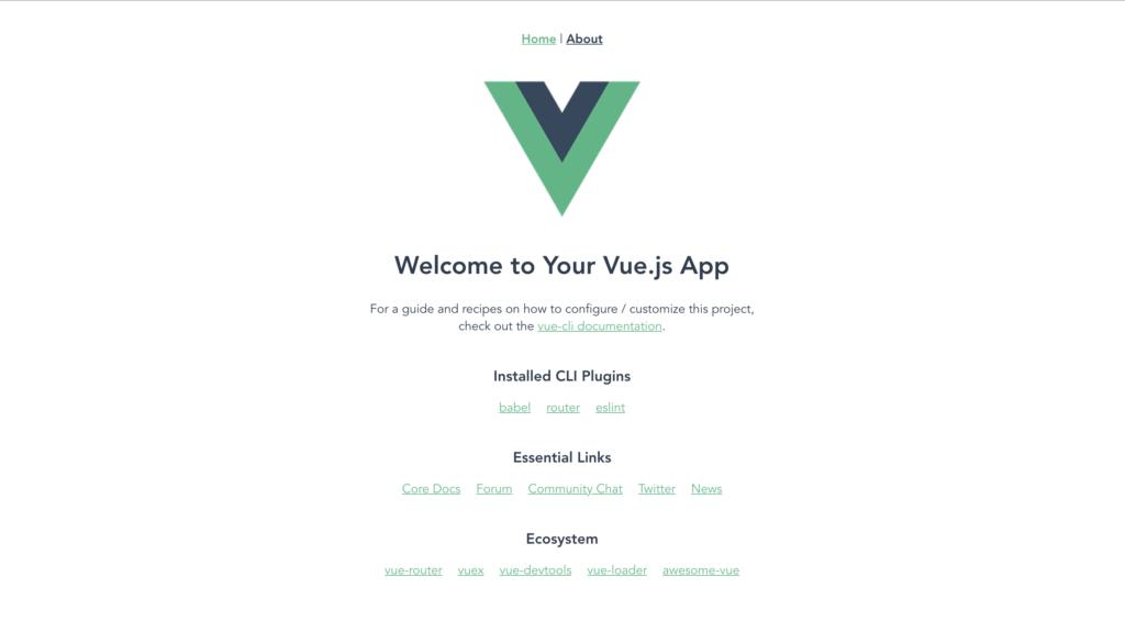 Vueアプリのデフォルト画面